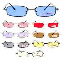 SA106 Snug Fit Small Mens Rectangular Metal Rim Classic Color Lens Sunglasses