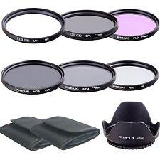 RISE(UK) 58mm Filter UV CPL FLD ND2 4 8 Lens Hood for Niko D7100 D7000 70-300mm