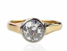 Jugendstil Damen 585 Gelb Gold Solitär 1,20 ct Diamant Brillant Verlobung Ring
