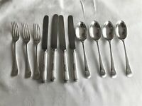 WALKER & HALL SILVER PLATED ANTIQUE KNIVES SPOONS FORKS ANTIQUE HOTEL SILVERWARE