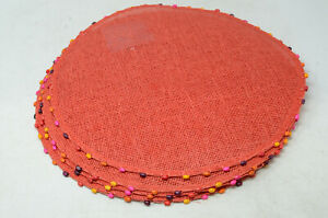 Red Straw Placemats with Bead Trim, Round, Set of 4