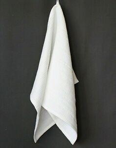 "100% Linen White Bath Towel - Soft Waffle Linen Bath Sheet - 35x60"", 39x70"""