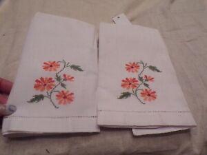 VTG Finger Towels With Orange Stitched Flowers