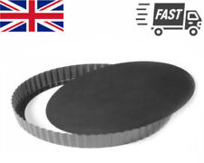 "9"" Non Stick Baking Quiche Flan Tart Tin Pan Fluted Loose Base Round Sponge 24cm"