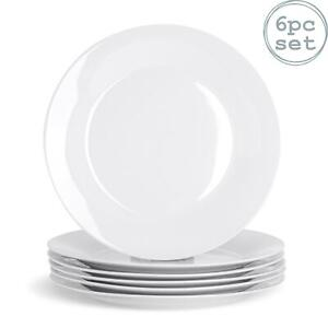 White Dinner Plates Wide Rimmed Plate. Porcelain Tableware Crockery 267mm - x6