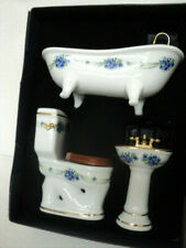 DOLLHOUSE BATHROOM SET/ PORCELAIN/ BLUE FLORAL