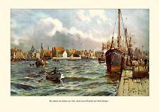 Deutsches Reich il porto di Emden dipinto V. stöwer 6