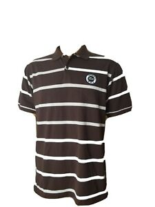 Lacoste🐊 Spellout Polo Shirt Brown White Striped Mens Size 7 Slim Fit Large