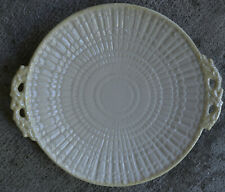 Belleek Neptune Yellow TRIDACNA Rare SERVING small platter MINT green stamp 10""