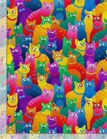 Timeless Treasures ~ Brite Rainbow Crazy Cats ~ 100% Cotton Quilt Fabric BTY