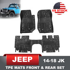 All Weather TPE Slush Floor Mat Front Rear Mats for Jeep Wrangler JK 4D 14-18