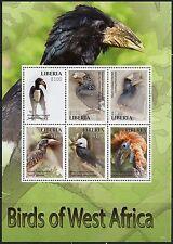LIBERIA 2016  BIRDS OF WEST  AFRICA  SHEET OF SIX   MINT NH