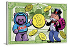 Mr Monopoly With Teddy Bear And Crypto Canvas Picture Alec Monopoly Wall Art