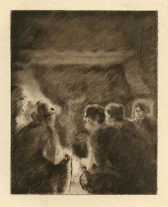 "Camille Pissarro ""La veillee"" etching RARE"