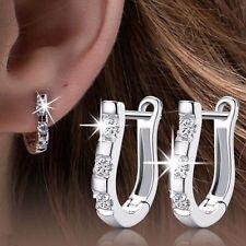 Horseshoe Horse Hoof CZ Crystal 925 Sterling Silver Stud Hoop Earrings Jewelry