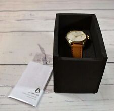 NWT NIXON THE BULLET LEATHER GOLD/SADDLE LEATHER WHITE FACE WATCH A473 1425-00