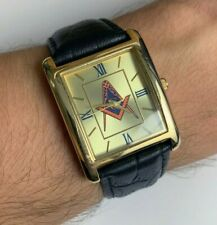 Square Gold Tone Watch Mens Black Band Freemasonry Masonic Logo Gift