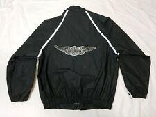 Harley-Davidson Men's Black PVC Reflective Rain Riding Motorcycle Jacket Medium