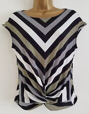 NEW Ex D*benh*ms 10-16 Chevron Striped Knot Front Black White Yellow Top Blouse