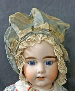 SILK BONNET FOR ANTIQUE DOLL, OLD DOLL HAT, DOLL CLOTHING