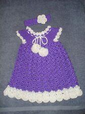 Handmade crochet purple & white baby dress & headband for 9-12 month-old