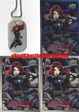 Black Widow Dog Tag + 2 Base Cards & 1 Foil Card - Upper Deck Marvel Dossier