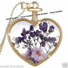 Purple Flower & Gold Heart Pendant Necklace - Xmas Jewellery Gifts For Her Women