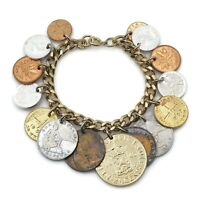 Vintage Mixed Metals 1914 - 1962 Coins Of The World Charm Bracelet 7 Inch