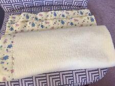 ESMOND Baby Blanket Acrylic Thermal  Yellow Animal Border Vintage HTF EUC