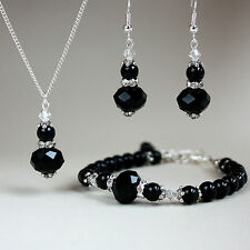 Vintage black pearls crystal necklace bracelet earrings silver wedding party set