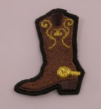 Embroidered Brown & Metallic Gold Western Cowboy Boot Patch Applique Iron On USA