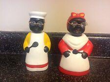 "(2)-Black Americana ""Chef"" Ceramic Bobblehead Banks-Very Nice!"