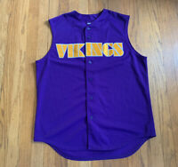 Minnesota Vikings Vintage Majestic Sleeveless Baseball Jersey Purple Size L Rare
