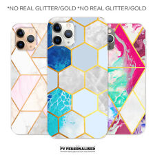 PERSONALISED PHONE CASE MARBLE GEOMETRIC PHONE COVER FOR APPLE IPHONE