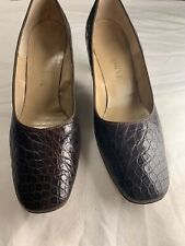 Vtg 60s Real Alligator brown leather Pumps High Heels Mod Sz 8.5