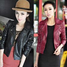 Womens Slim PU Leather Crop Jacket Punk Rock Biker Motorcycle Coat Zipper Blazer
