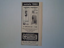 advertising Pubblicità 1963 CINEPRESA EUMIG S2/P8