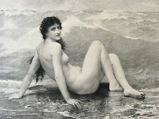 La vague femme nue William Adolphe Bouguereau gravure par Barbotin fin XIX ème