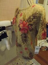 NEW ALFRED DUNNER SWEATER BEADING SZ SMALL MOSSY BROWN PURPLE ORG FLOWERS RET$50