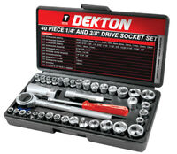 Dekton Drive Socket Set, 1/4-Inch, 3/8-Inch, Set Of 40 Piece Drive Combination S