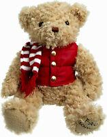 "FAO Schwarz 12.5"" Plush Teddy Bear Red Puffer Vest-Scarf Collector NWT Christmas"
