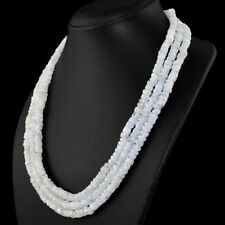 530.00 Cts Natural Blue Flash Moonstone Round Shape Beads 3 Strand Necklace