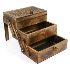 Mango Wood Chest with Sliding Drawers & Hand-Carved Floral Pattern from India