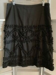 New Cordelia Black knee length Ruffle Skirt sz L