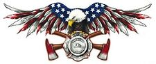 AMERICAN FIREFIGHTER EAGLE WITH USA FLAG ON WINGS HELMET STICKER BUMPER STICKER