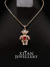 Diamond Crystals Teddy Bear Pendant Necklace Ruby Heart in front