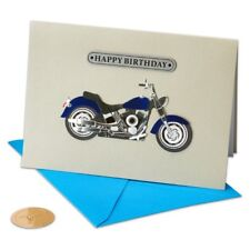 Papyrus Handmade Birthday Card with blue crome Motorcycle