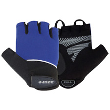 Cycle Gloves Sports Mountain BMX Bike Half Finger Cycling Padded Mitts Blue Med