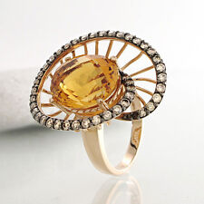 Ring mit Citrin ca. 6 ct und  Brillantbesatz 0,95 ct in 18k Roségold rhodiniert