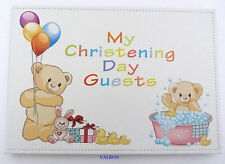 DELIGHTFUL TEDDY BABY CHRISTENING GUEST BOOK INCL. ENGRAVING PLATE